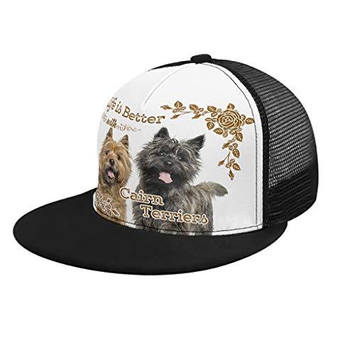 Yzanswer Life is Better Dog Cairn Terrier - Berretto da baseball con stampa AthleticBaseball taglia regolabile, ottima idea regalo per ragazzi, ragazzi e ragazze, taglia unica