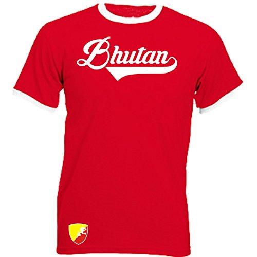 Bhutan - Ringer Retro TS - rot - WM 2018 T-Shirt Trikot Look (S)