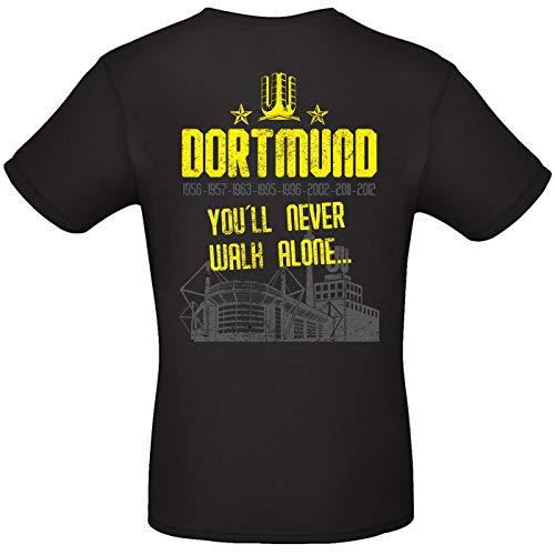 Alsino Herren T-Shirt Dortmund (3) You'll Never Walk Alone mit Jahreszahlen und Stadion aus Baumwolle, Größe wählen:XXL