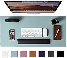 """Leather Desk Pad Protector,Mouse Pad,Office Desk Mat, Non-Slip PU Leather Desk Blotter,Laptop Desk Pad,Waterproof Desk Writing Pad for Office and Home (Light Blue,31.5\\"""" x 15.7\\"""")"""