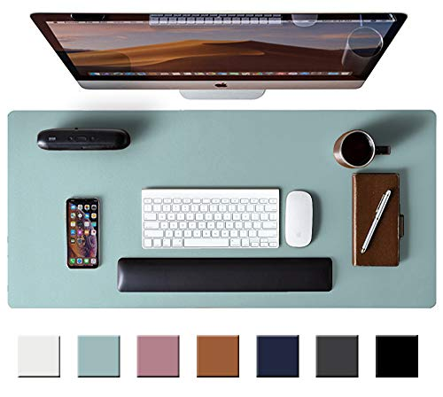 Leather Desk Pad Protector,Mouse Pad,Office Desk Mat, Non-Slip PU Leather Desk Blotter,Laptop Desk Pad,Waterproof Desk Writing Pad for Office and Home (Light Blue,31.5 x 15.7)