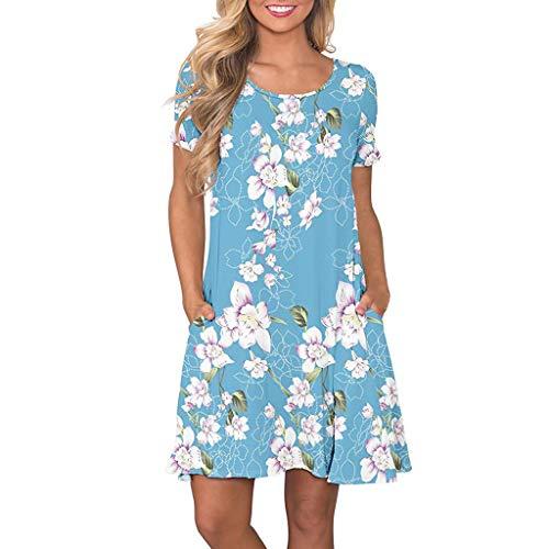 VEMOW Vestido Mujer Mujeres Verano Manga Corta Floral Bolsillos Impresos Vestido de oscilación Ocasional de Sundress(A Cielo Azul,L)