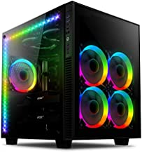 anidees AI Crystal Cube AR V2 Dual Chamber Tempered Glass EATX/ATX PC Gaming Case with 5 RGB Fans / 2 LED Strips - Black AI-CL-Cube-AR2
