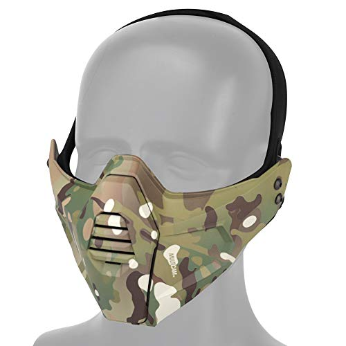 WarmHeartting Táctico Media Mascarilla de la Máscara al Aire Libre Protectora Máscara Transpirable para Airsoft Paintball CS