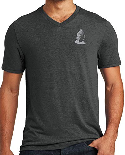 Yoga Clothing For You Mens Buddha (Small Print) Triblend V-Neck Tee Shirt, Black Frost, XL