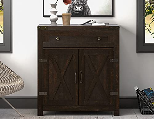 Allewie 30 Inches Accent Cabinet with Double Doors, Buffet Cabinet, Sideboard with Drawer and 2-Tier Shelves for Dining Room, Living Room, Bathroom, Espresso