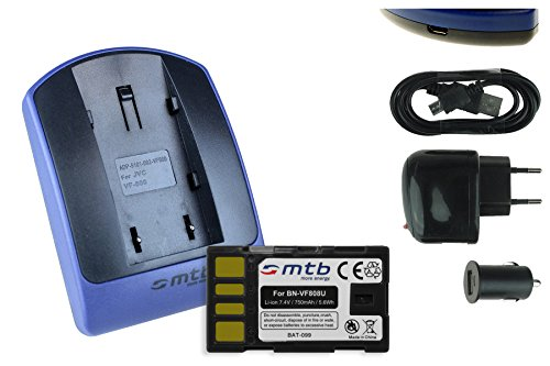 Baterìa + Cargador (USB/Coche/Corriente) para JVC BN-VF808 / GR-D. / GZ-HD, MG, MS. - Ver Lista