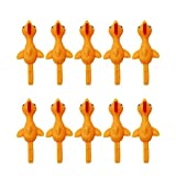 STOBOK 10pcs Slingshot Chicken Toys Stretchy Flick Chicken Catapult Flying Turkey Rubber Finger Toy Easter Chicks Pranks Funny Tricky Toys for Party (Orange)