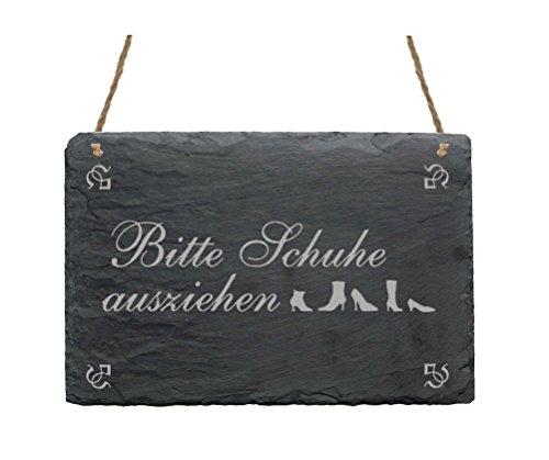 Wetterfeste Schiefertafel « BITTE SCHUHE AUSZIEHEN » Schild mit Motiv - Dekoration Dekoschild Türschild Hausflur Flur - Hinweisschild Gäste Besucher