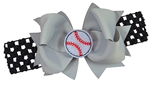 Baseball Team Fan Bow and Crochet Headband Fits Newborn to Toddlers Funny Girl Designs (BLACK BAND/SILVER BOW)