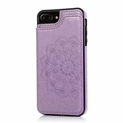 Lijc Compatible con Funda iPhone 6 Plus/6S Plus Botón Doble Mandala En Relieve PU Cuero Tarjeta Bolsillos [Ranura para Tarjetas] [Soporte Plegable] Antigolpes Flip Caso-Púrpura
