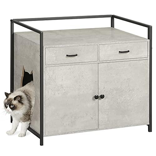 MSmask Katzenhaus für Katzenbett oder Katzentoilette, Großer Katzenwaschraum mit Schublade, Versteckte Katzentoilette Möbel, Nachttisch Aufbewahrung (Grau)