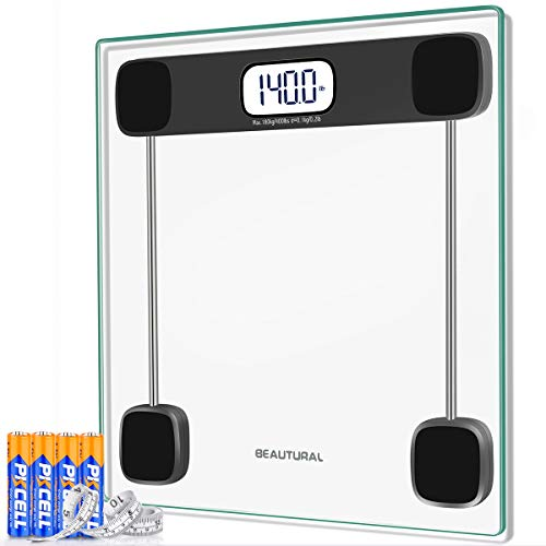 Beautural Digital Bathroom Scale for Body Weight, LCD Display, 400lb, 4 AAA Batteries and Tape Measure Included,Tempered Glass