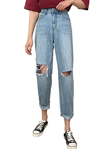 Anna-Kaci Women Jeans High Waisted Frayed Ripped Knee Distressed Loose Denim Pants, A-Blue, Medium