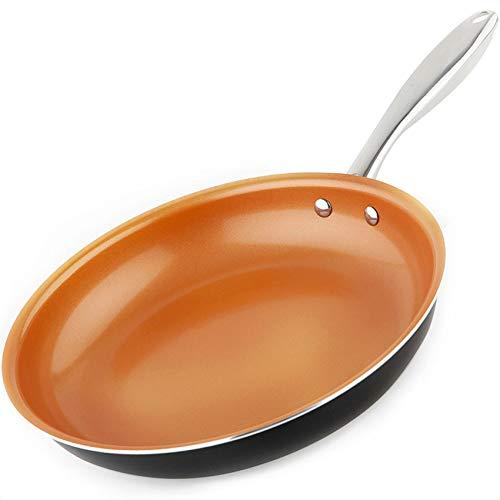 MICHELANGELO Copper Frying Pan Nonstick, 11 Inch Frying Pan with Ultra Nonstick Titanium Coating, Nonstick Copper Skillet 11 Inch, Copper Pan, Ceramic Frying Pan Nonstick - 11 Inch