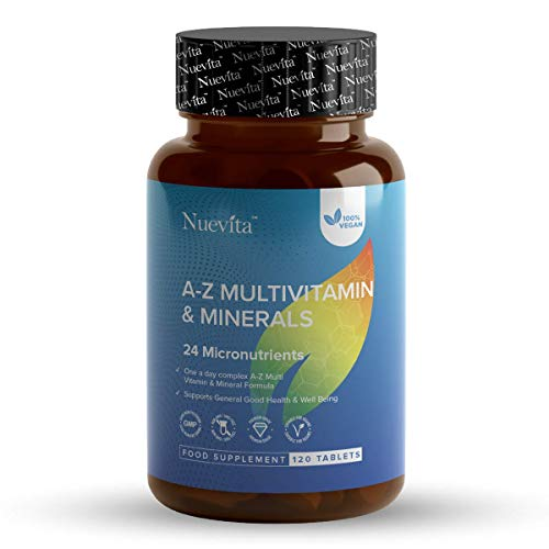 Multi Vitamins & Minerals A-Z Tablets 100% RDA - 120 Vegan Tablets - One A Day - Multivitamin Tablets for Men and Women with 24 Essential Active Vitamins & Minerals