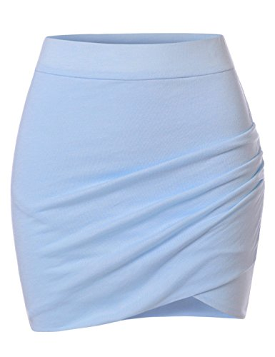 NEARKIN (NKNKSSK64 Womens Stretchy Waistband Shirring Fitted Mini Skirt Sky US XS(Tag Size S)