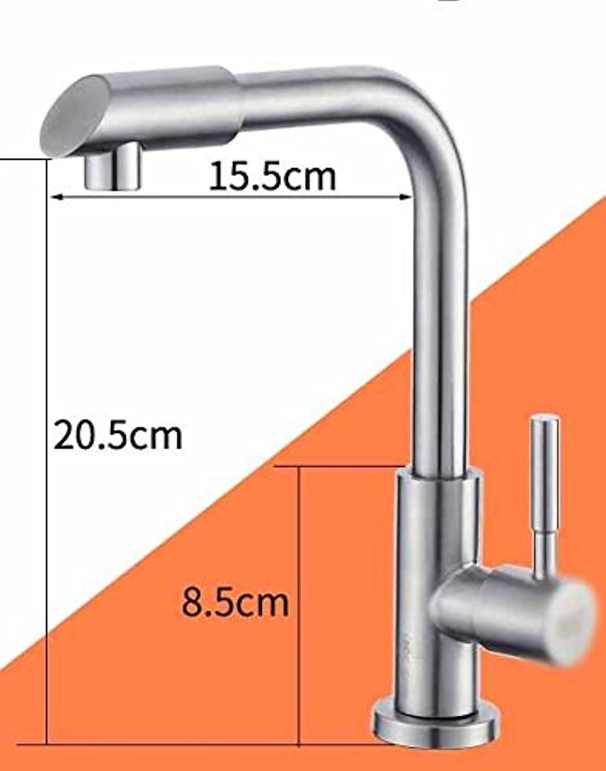 MulFaucet Faucet Water tap Taps Swivel Hoses Kitchen Bathroom Single Cold Basin redating hot and Cold Single Handle Single Hole E