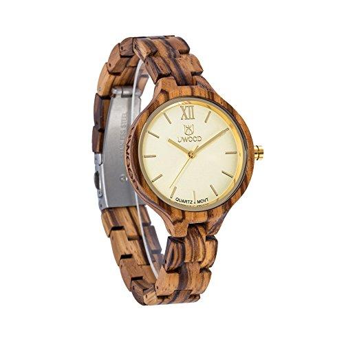 Damen holzuhr-UWOOD Luxus Handgemachte Holzuhr 35mm Natürliches Holz Analog Quarz Armbanduhr Frauen Uhren(Schwarz Sandalholz) …