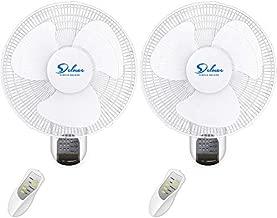 HealSmart 16-Inch Digital Wall Mount Oscillating Fan w/Remote,White,2 Pack