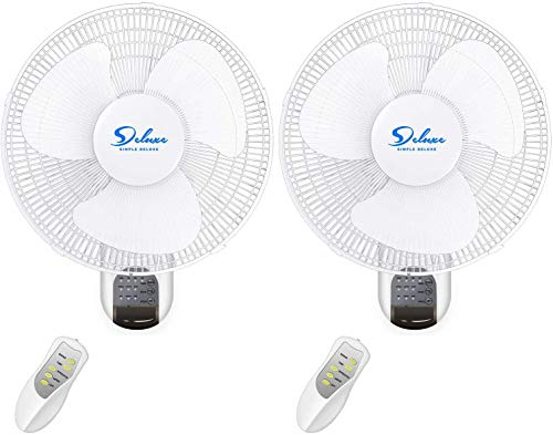 16-Inch Digital Wall Mount Oscillating Fan w/Remote,White,2 Pack