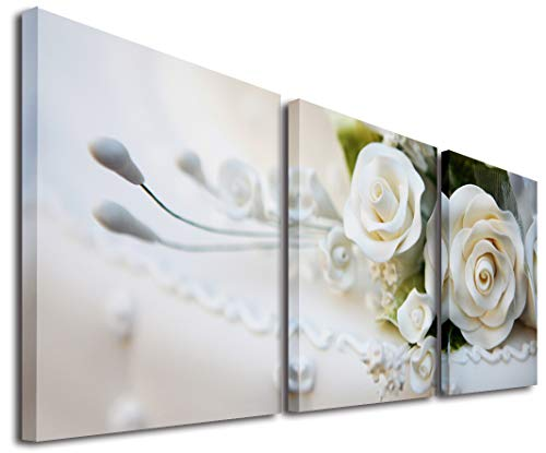 Mon Kunst di 3rose bianche split tela immagine di Wall Art canvas Artwork tutte le immagini grandi cornici di legno, Black, 40cmx40cmx3 Framed