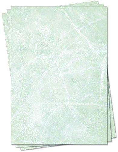 Gastronomie Papier (Grün-Eis-Marmor, DIN A5, 100 Blatt, MPA-5153b) für Speisekarten. Marmoriertes Papier, Marmorpapier rot zweiseitig bedruckt, für alle Drucker/Kopierer geeignet