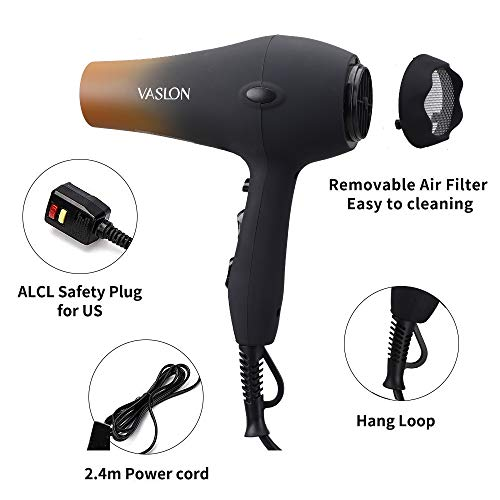 Product Image 1: VASLON Salon Grade Professional Hair Dryer 1875W AC Motor Negative Ionic Ceramic Blow Dryer With 2 Speed and 3 Heat Settings Cold Shot Button, Concentrator