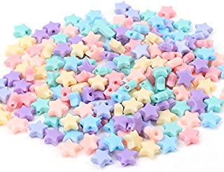 XBBH Spring Color Star Acrylic Loose Beads For Jewelry Making Diy Wholesale 10mm 100pcs DIY sewing beads (Color : Star)