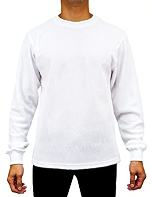 Access Men's Heavyweight Long Sleeve Thermal Crew Neck Top White Medium