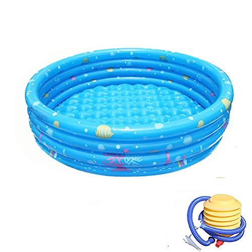 Portable opblaasbaar zwembad met pomp voor de zomer Partij van de Familie opblaasbaar kinderzwembad Bad Kids Oceaan Ball Pool,Blue,four rings 150cm