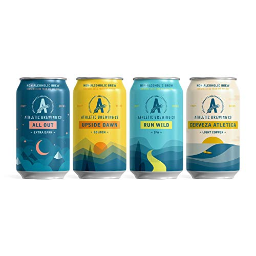 Athletic Brewing Company Craft NA - 6-Pack of All Out, Upside Dawn, Run Wild IPA, and Cerveza Atletica - Low-Calorie, Award Winning - All Natural Ingredients For A Great Tasting Drink - 12 Fl Oz Cans