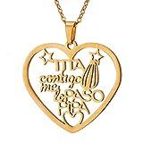 Collar Mamá Colgante de corazón Color de Plata Oro Acero Inoxidable Collares Mujer Regalo para Mamá Abuela Papa Madre Joyería Familiar
