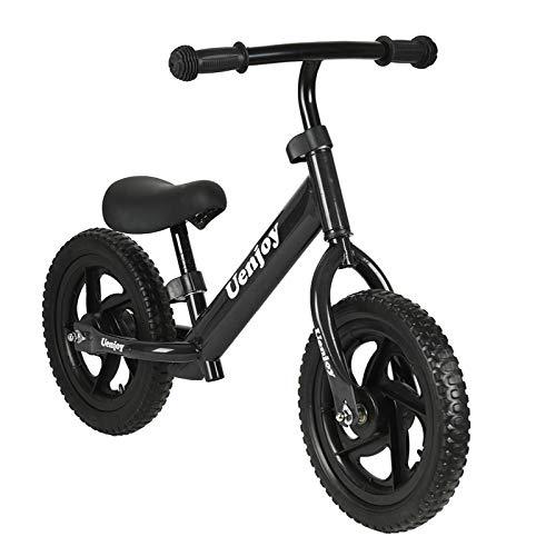 Uenjoy Kids Balance Bike No Pedal Bicycle for 2-4 Years Old, Toddler Balance Push Bike with 12' EVA Polymer Foam Tire, Height Adjustable, Lightweight Frame, Black