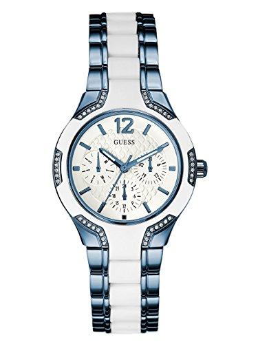 Guess Damen Analog Quarz Uhr mit Silikon Armband W0556L9