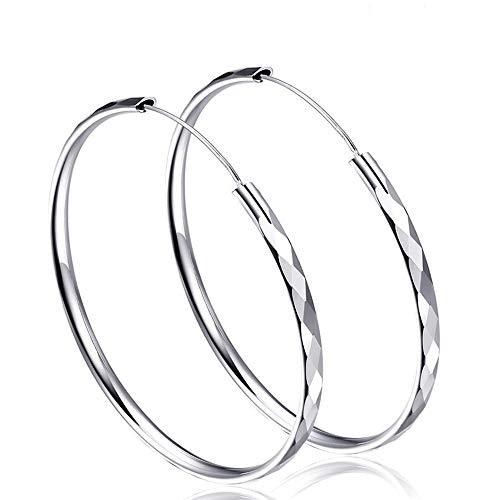 Silber Ohrringe Damen Creolen Durchmesser 50mm Groß Rund Ohrhänger Ohrschmuck Creolen Ohrringe für Frauen Mädchen