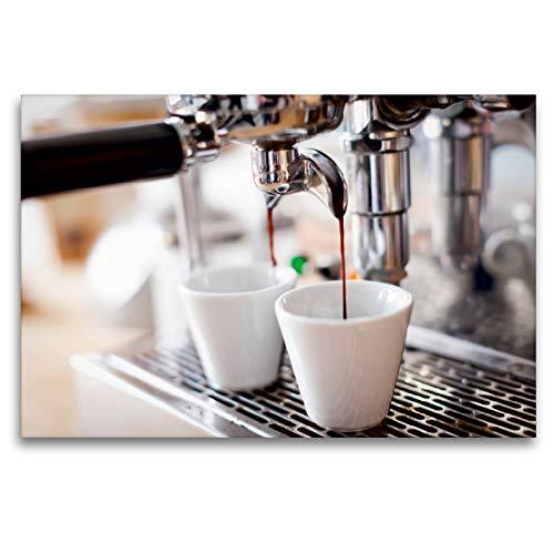 Preisvergleich Produktbild CALVENDO Premium Textil-Leinwand 120 x 80 cm Quer-Format Langsam läuft der aromatisch duftende Espresso aus der Kaffemaschine in die Tassen,  Leinwanddruck Verlag