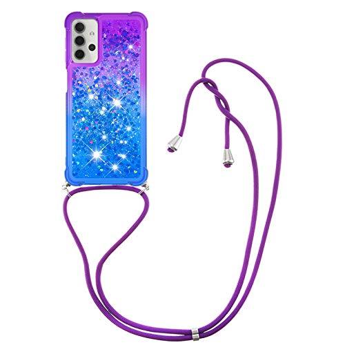 HülleLover Handykette Handyhülle für Samsung A32 5G, Glitzer Flüssig Bewegende Treibsand Transparent Silikon Hülle mit Kordel zum Umhängen Necklace Phone Hülle Band für Samsung Galaxy A32 5G, Lila-Blau