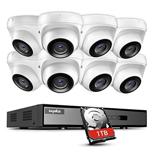 SANNCE 1080P Security Camera System 8CH Home DVR and 8X 1080P Outdoor White Surveillance Bullet Camera, 1080P Realtime View, Motion Detection Alert, APP Push with Screenshot(1TB Hard Disk Include)