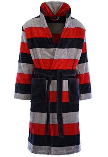 HOM - Herren - Bademantel 'Fregate' - hochwertige Loungewear - Dark Grey/red S