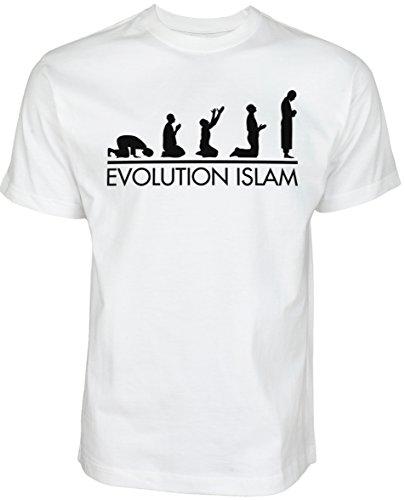 Evolution Islam | ISLAMISCHE Streetwear Kleidung FÜR Muslime T Shirt BEDRUCK Outdoor Islam Fashion (M, Weiß)