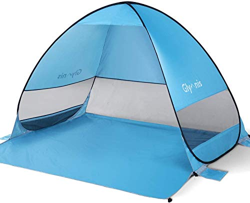 Glymnis Pop Up Beach Tent Beach Shade Sun Shelter for 3-4 Person Portable Tent with UPF 50+ for Outdoor Activities Beach Traveling Blue