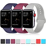 ATUP Pack 3 Compatible with iWatch Band 44mm Series 4, Soft Silicone Band Compatible iWatch Series 4, Series 3, Series 2, Series 1 (Navy Blue/Wine Red/Gray, 42mm/44mm-S/M)