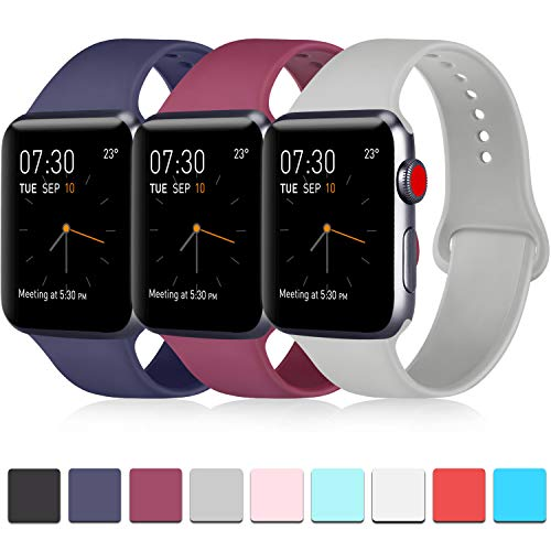 Pack 3 Compatible with Apple Watch Band 40mm Series 4, Soft Silicone Band Compatible iWatch Series 4, Series 3, Series 2, Series 1 (Navy Blue/Wine Red/Gray, 38mm/40mm-S/M)