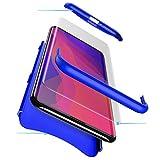 PAIPAIGUAN Oppo Find X Hülle Oppo Find X Handyhülle 3 in 1 Ultra Dünner PC Harte Schutzhülle 360 Grad Hülle + Panzerglas für Oppo Find X Komplett Hülle Fullbody Case Cover - Blau