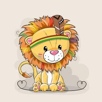 Herz Stoffe Österreich: 1 Sommersweat/French Terry Stoff Panel (40x50cm) Löwe auf beige Indianer Löwenboy Feder Einzelmotiv Ökotex