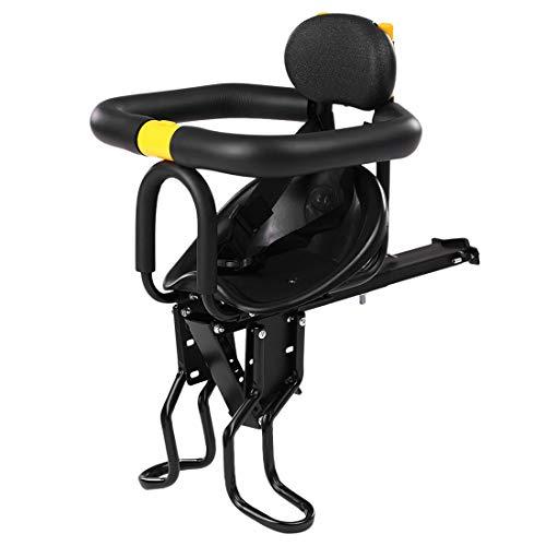 IT IF IT Fahrrad Kindersitz, Kindersattel Fahrrad Vorne, Leichte faltbare Kinderfahrradsitz montieren Kindersicherheit Vordersitz Sattelträger- Nach Verbreiterung der Fußrasten auch passend für E-Bike