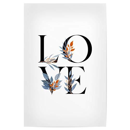artboxONE Poster 30x20 cm Typografie Floral Love Letters hochwertiger Design Kunstdruck - Bild Letter Flower Letter