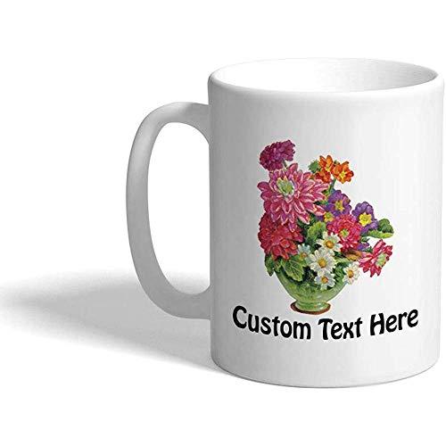Taza de café personalizada 330 ml Flores de colores Botánica Taza de té de cerámica Texto personalizado