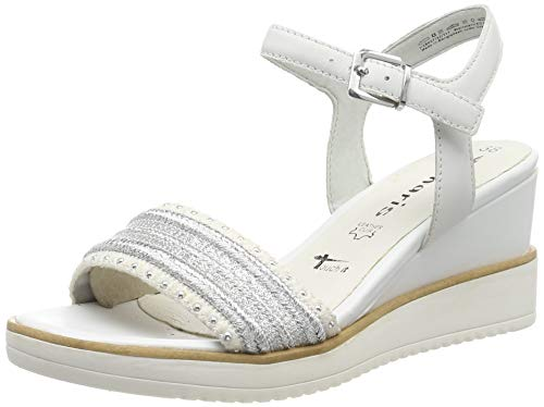 Tamaris Damen 1-1-28057-32 Riemchensandalen, Weiß (White Leather 117), 38 EU